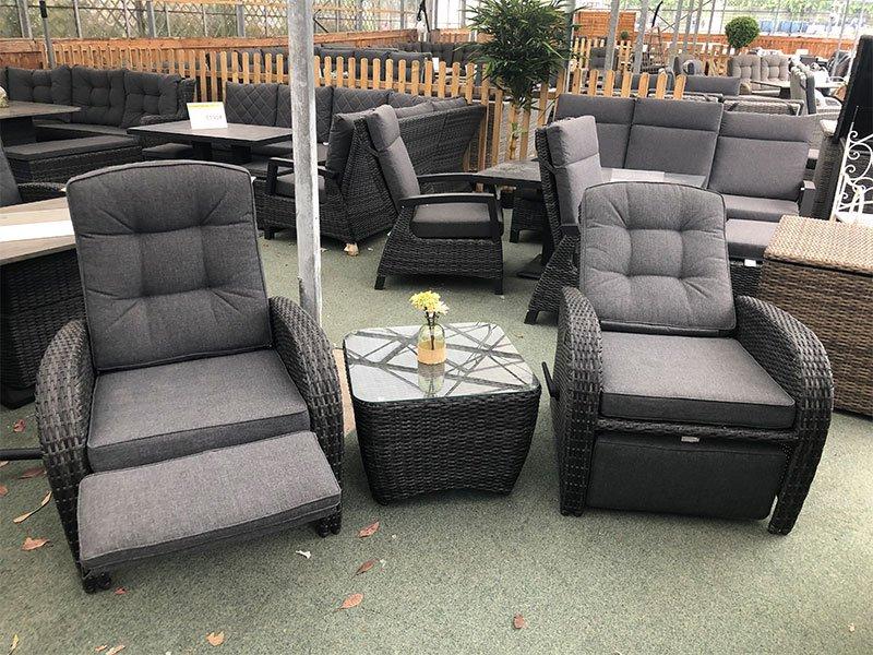 Grey Reclining Rattan Bistro Set + Footrest - Garden ...