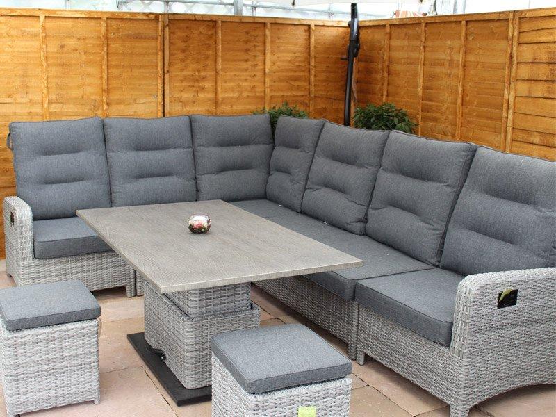Large Reclining Rattan Corner Sofa Set - Stone Grey