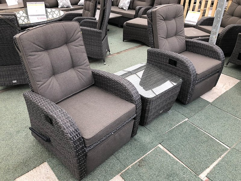 Reclining Rattan Bistro Set with Rocking Armchairs ...